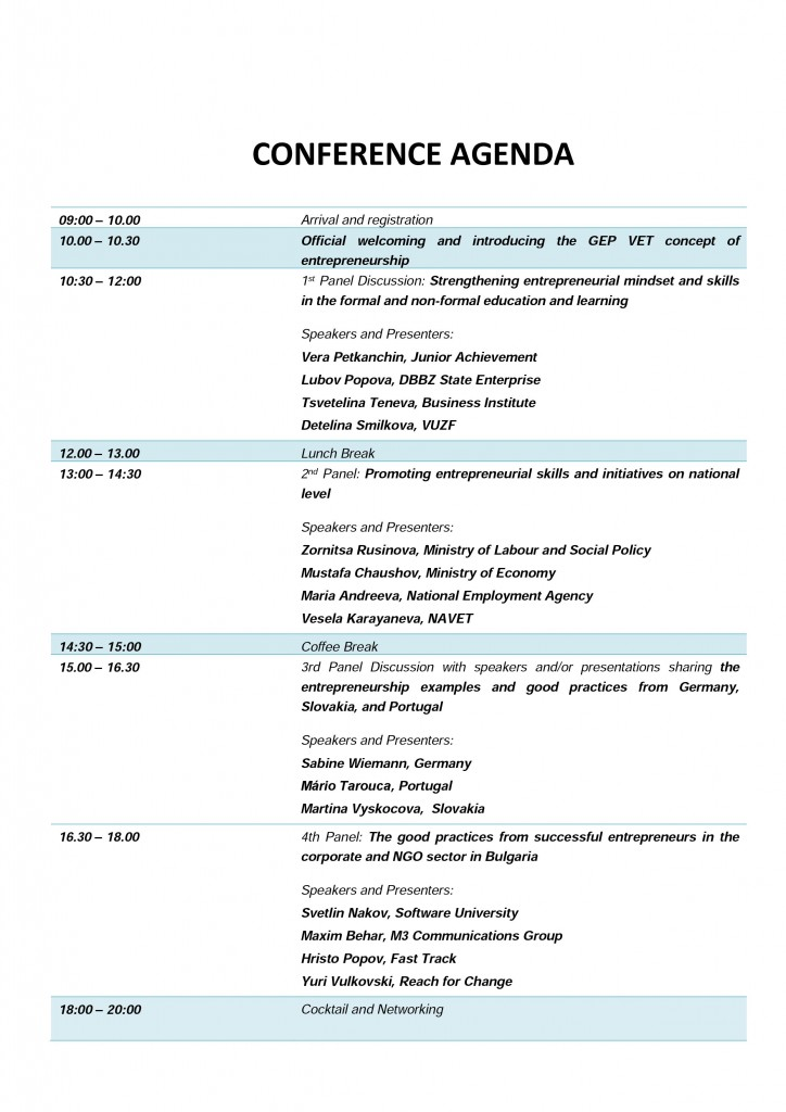 Detailed conference agenda
